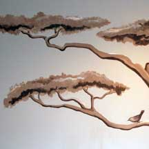 tree mural close leaves